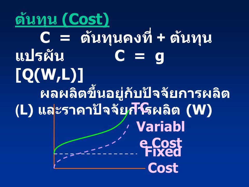 ต้นทุน (Cost). C = ต้นทุนคงที่ + ต้นทุนแปรผัน. C = g [Q(W,L)]